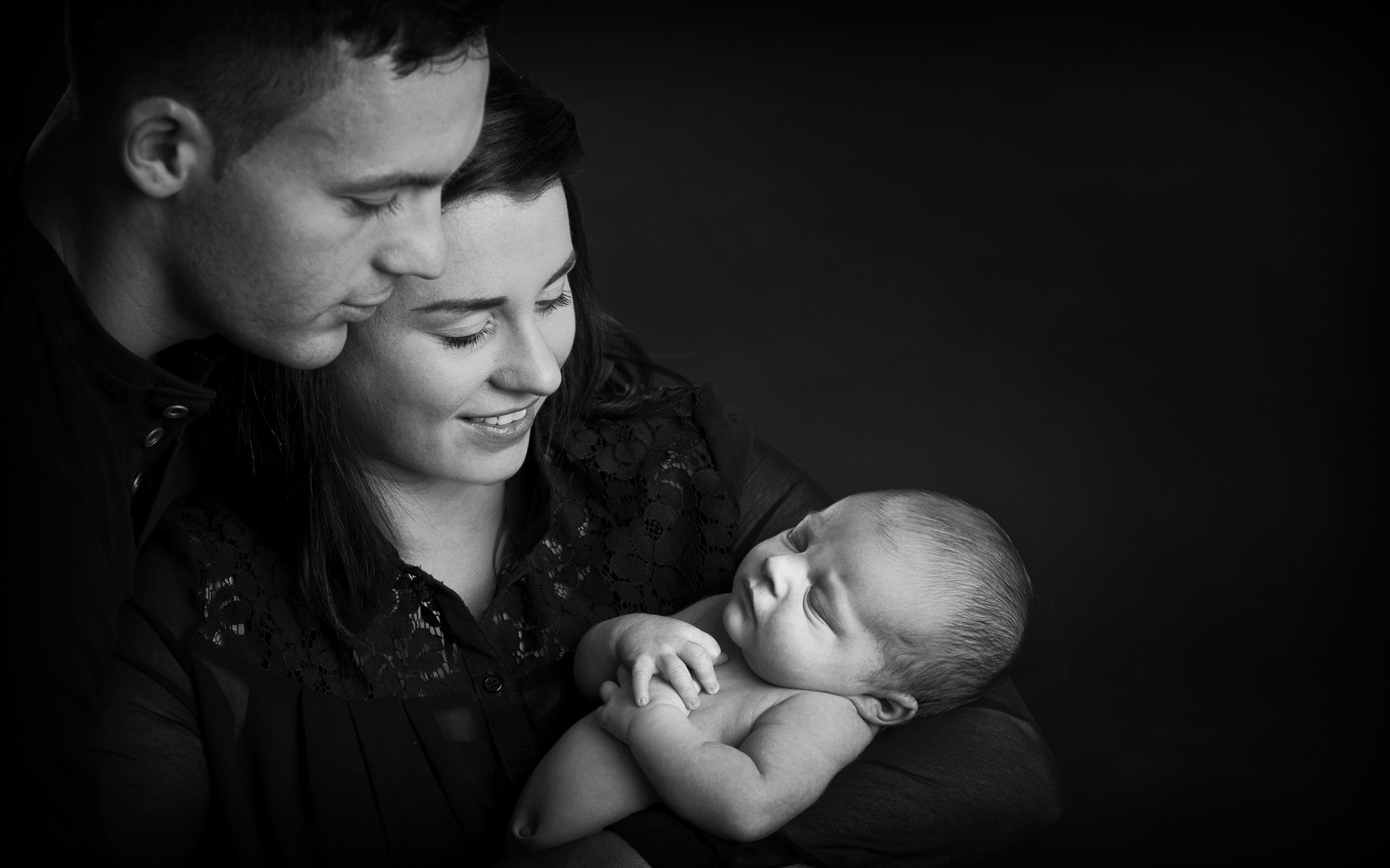 Classical Portrait Newborn Child with Parents